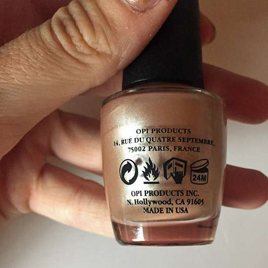 OPI Nail Lacquer, Farbe: NL R58 Cosmo-Not Tonight Honey! - Flasche Rückseite