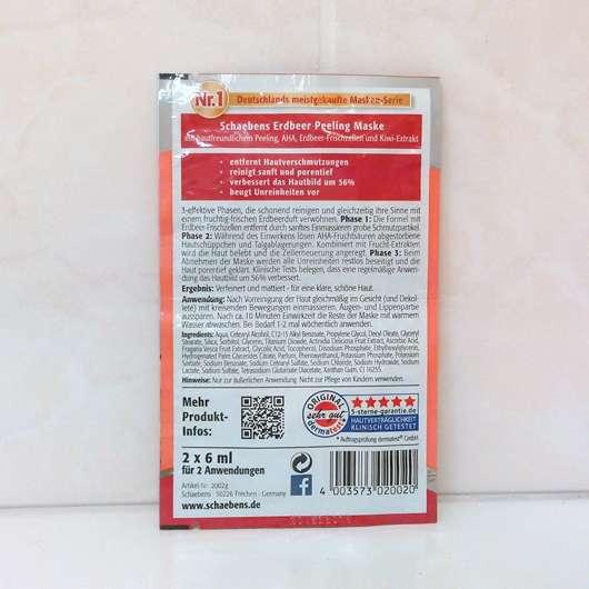Verpackungsrückseite der Schaebens Erdbeer Peeling Maske