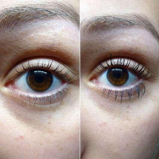 Ergebnis mit der kurzen Bürste der IsaDora Stretch Lash Mascara, Farbe: 01 Black