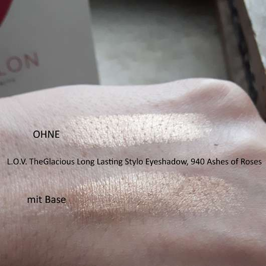 Swatch vom L.O.V TheGlacious Long Lasting Stylo Eyeshadow, Farbe: 940 Ashes Of Roses