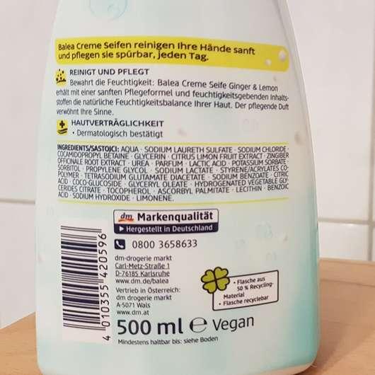 Balea Creme Seife Ginger & Lemon Herstellerangaben