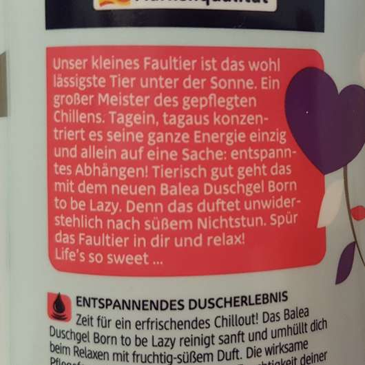 "Rückseite des Balea Duschgel Faultier ""Born to be lazy"" (LE)"