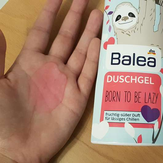 "Swatch des Balea Duschgel Faultier ""Born to be lazy"" (LE)"