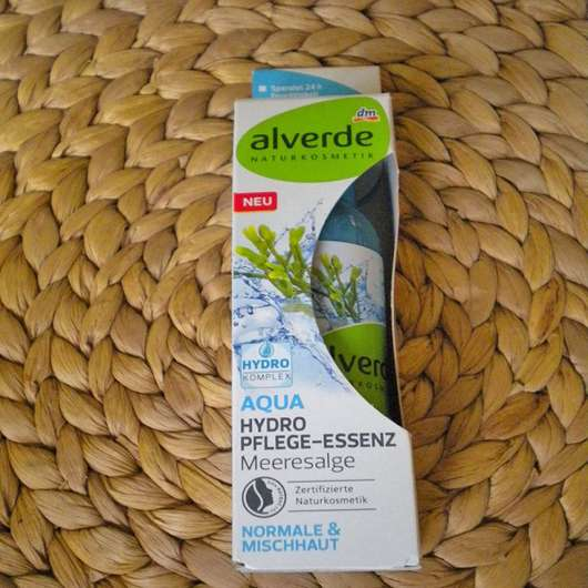 Umverpackung der alverde Aqua Hydro Pflege-Essenz Meeresalge