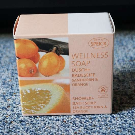 Made by Speick Wellness Soap Dusch + Badeseife Sanddorn & Orange Verpackung und Design