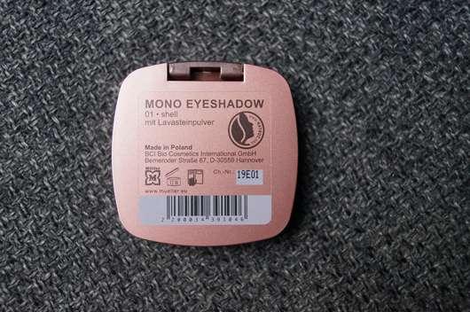 Verpackungsrückseite - Terra Naturi Mono Eyeshadow, Farbe: 01 shell