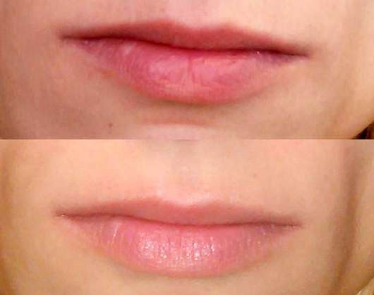 Terra Naturi Schimmernde Lippenpflege Sheabutter & Jojoba Lippen ohne und mit Produkt
