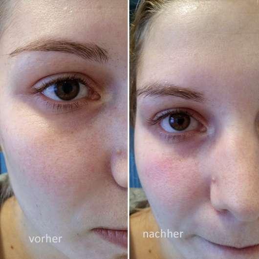 IVY Hot Eyes Steam - Wärmende Augenmaske - Gesicht vor und nach der Anwendung