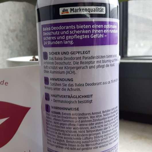 Balea Deodorant Spray Paradiesblüten Herstellerangaben