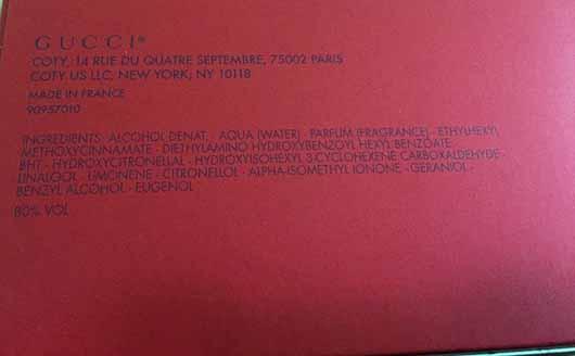 Gucci Rush Eau de Toilette - Inhaltsstoffe auf Verpackung