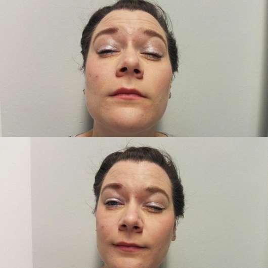 Augen Make-up mit p2 4D metallic foil eye shadow, Farbe: 020 glitzy white (LE)