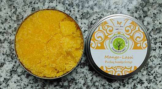 SauberKunst Seifenmanufaktur Mango-Lassi Peeling - Dose geöffnet