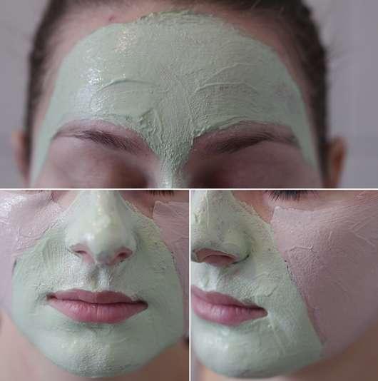 Die Maske direkt nach dem Aufrag auf der Haut