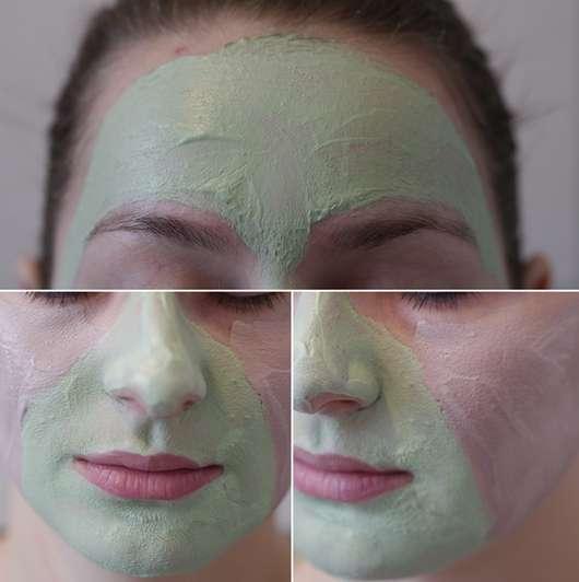 Die Maske nach 15 Minuten auf der Haut