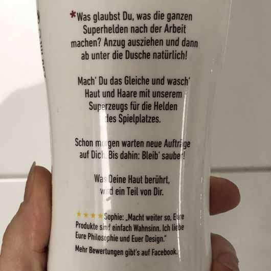 Jean&Len Superhelden Duschgel & Shampoo - Flasche Rückseite