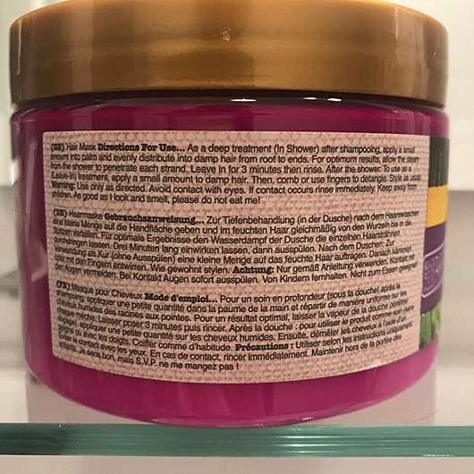 Verpackungsrückseite der Maui Moisture Revive & Hydrate + Shea Butter Hair Mask