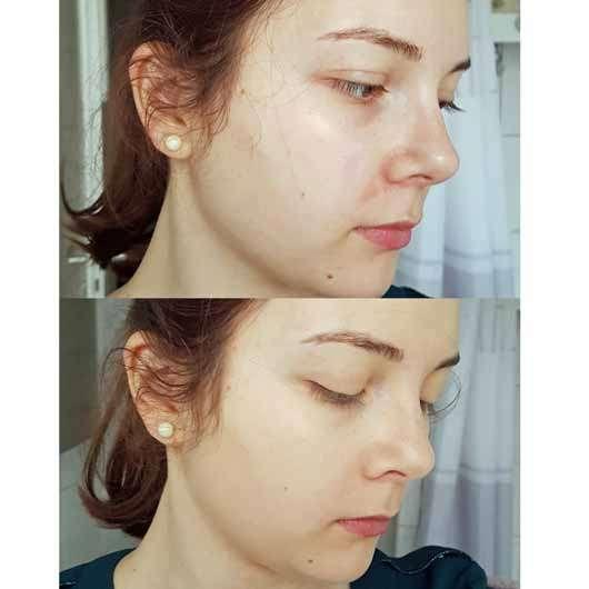 NYX Stay Matte But Not Flat Powder Foundation, Farbe: Natural - Gesicht ohne und mit Produkt