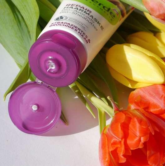 Dosieröffnung - alverde Repair Haarmaske Bio-Avocado Bio-Sheabutter