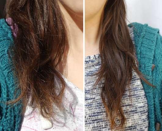 Haare vor/nach Anwendung der alverde Repair Haarmaske Bio-Avocado Bio-Sheabutter