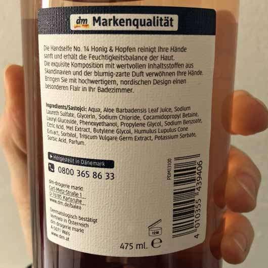 Balea Handseife No. 14 Honig & Hopfen - Flasche Rückseite