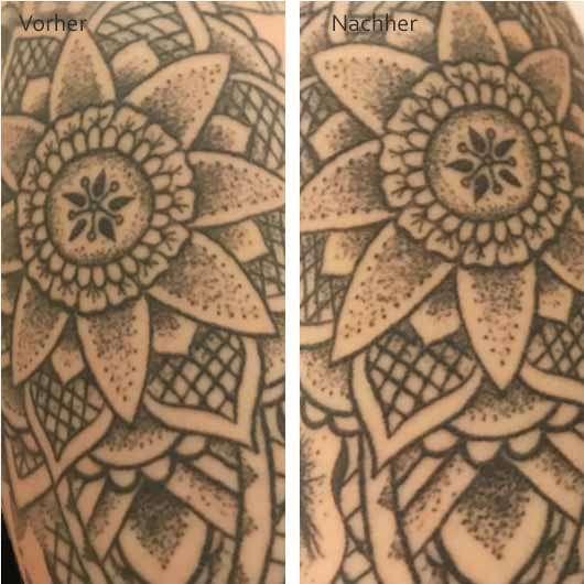 Balea Tattoo Farberhaltende Pflegelotion - Tätowierte Haut vor und nach der Anwendung