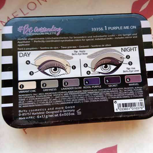 BeYu Be Outstanding Eyeshadow Palette, Farbe: 1 Purple Me On (LE) - Palette Rückseite