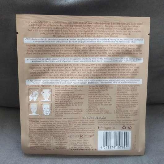 Verpackungsrückseite - CHIARA AMBRA Straffende Hydrogel Gesichtsmaske