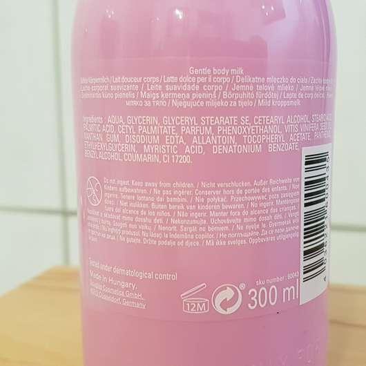 Verpackungsrückseite - Douglas Les Délices Gentle Body Milk Raspberry Macaroon