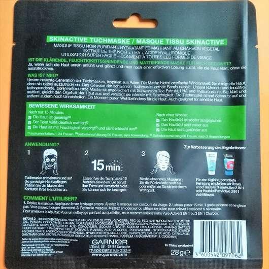 Rückseite - Garnier SkinActive Schwarze Tuchmaske mit Bambuskohle
