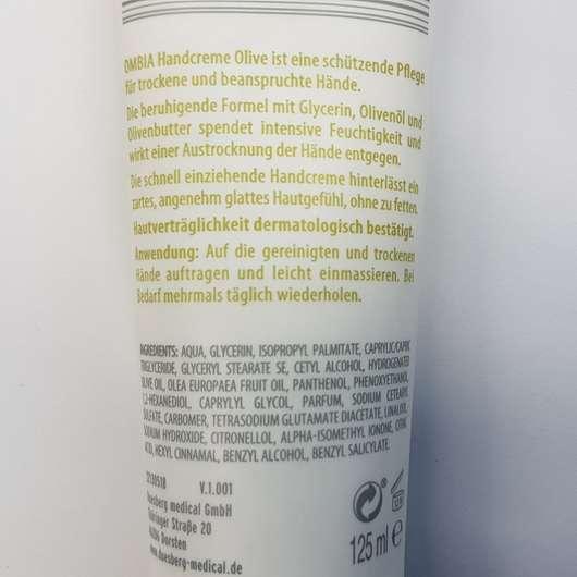 Verpackungsrückseite - Ombia Olive Handcreme