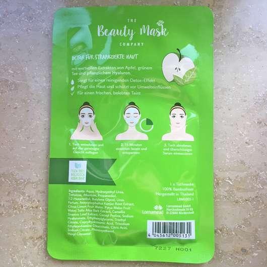 Verpackungsrückseite - The Beauty Mask Company Detox Tuchmaske