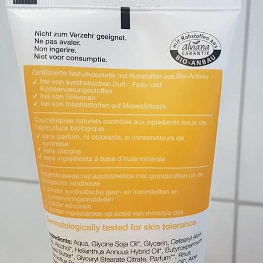 Verpackungsrückseite - alviana Paradise Touch Cremeöl-Lotion