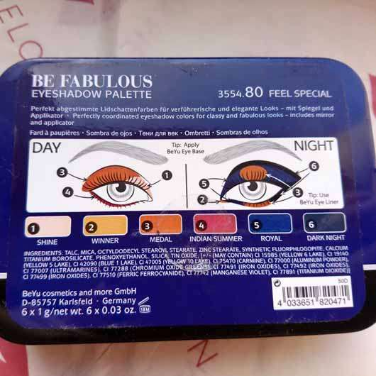 BeYu Be Fabulous Eyeshadow Palette, Farbe: 80 Feel Special (LE) - Verpackung Rückseite