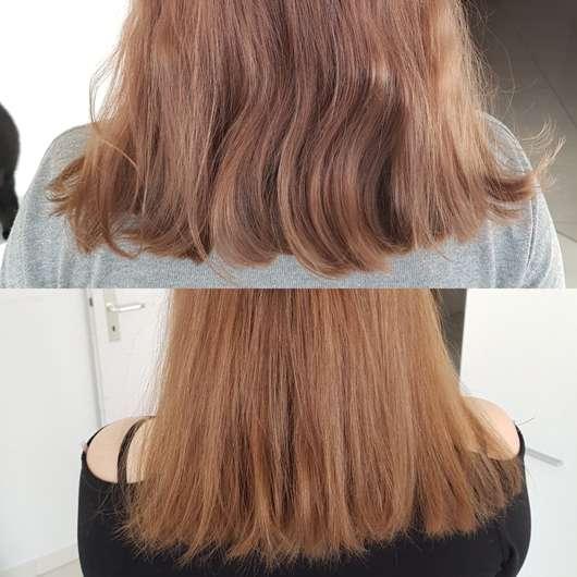 Haare vor/nach Verwendung des COLOURB4 Extra Haarfarben-Entferners
