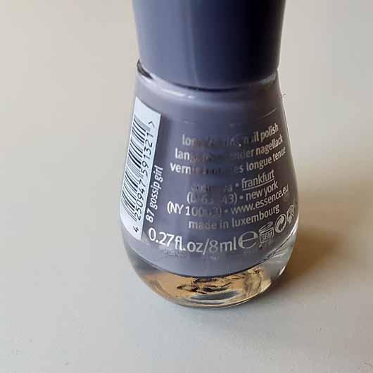 essence the gel nail polish, Farbe: 87 gossip girl - Flasche Rückseite