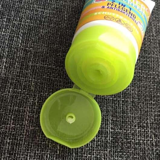 geöffneter Deckel der Handsan 2in1 Sommer-Handcreme (LE)