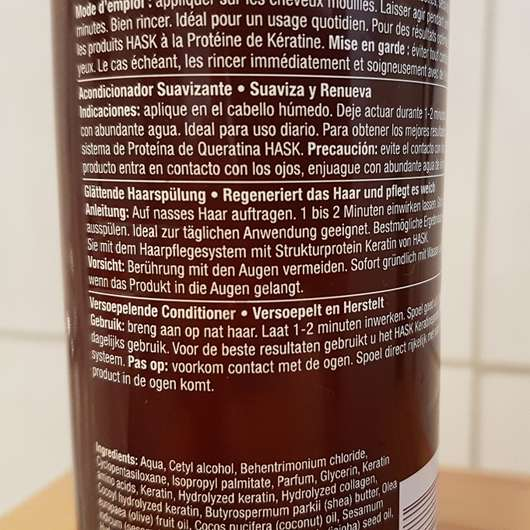 Verpackungsrückseite - HASK Keratin Protein Smoothing Conditioner