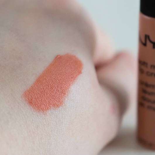 Swatch der NYX Soft Matte Lip Cream, Farbe: Athens
