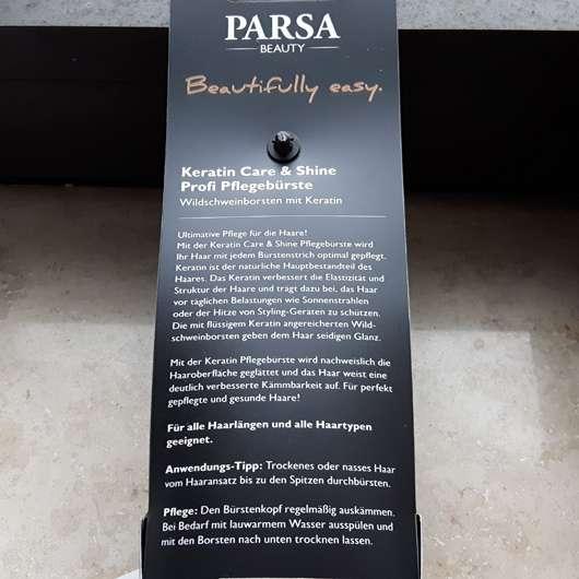 Parsa Beauty Keratin Care & Shine Profi Pflegebürste Extra-Glanz - Verpackung Rückseite