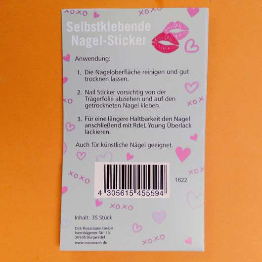 "Verpackungsrückseite - Rival de Loop Young Selbstklebende Nagel-Sticker ""Kisses"""