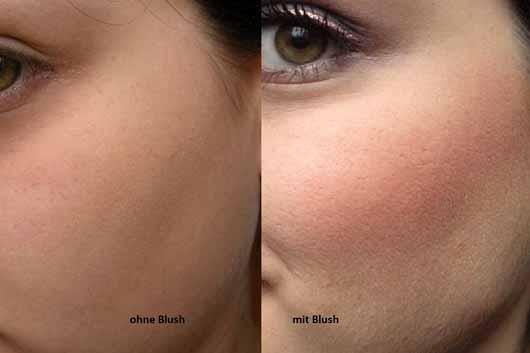 Sleek MakeUP Blush, Farbe: 923 Pomegranate - Gesicht ohne und mit Rouge