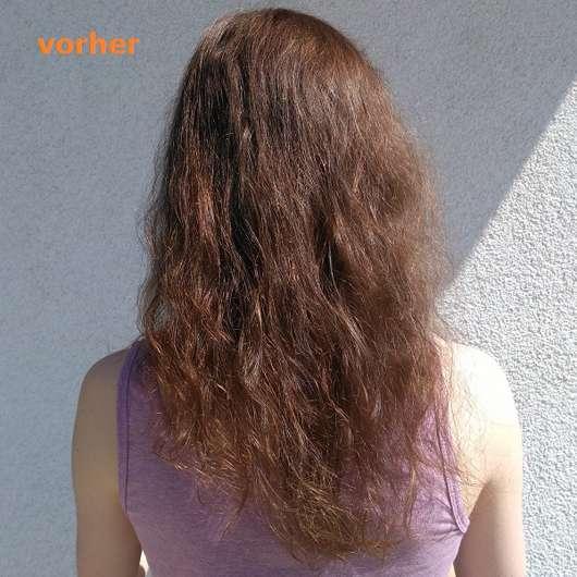 Haare vor dem Test der alverde Glanz Haarkur Bio-Rohrzucker