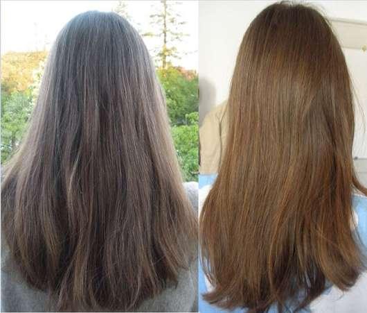Haare zu Testbeginn (links) und nach 4-wöchigem Test (rechts)
