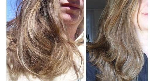 Haare zu Testbeginn (links) // Haare nach 4-wöchigem Test (rechts)