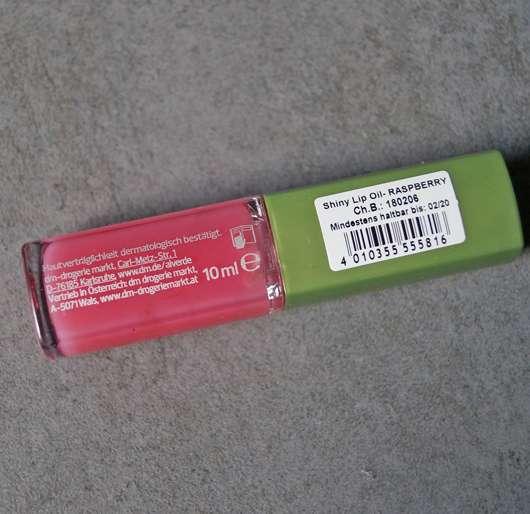 "Verpackungsrückseite - alverde Shiny Lip Oil ""Raspberry"""