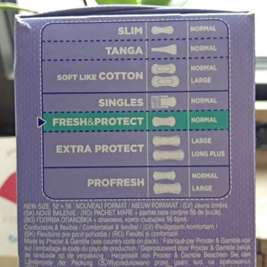 always Fresh & Protect Slipeinlagen Normal  - Verpackung seitlich