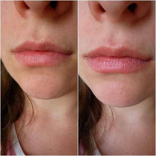 Blistex Lip Tone Soft Color - Lippen ohne und mit Produkt