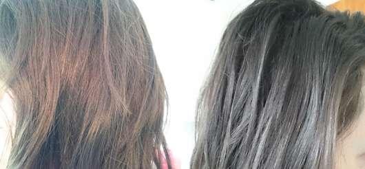links: vor der Anwendung des Shampoos + der Spülung // rechts: nach der Anwendung