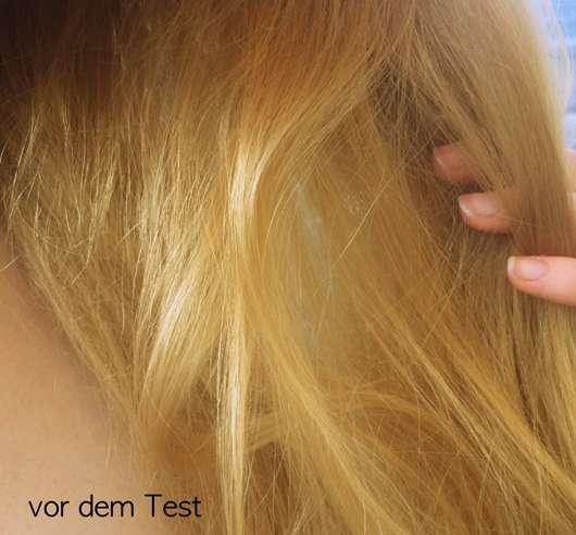 Haare vor dem Test der LANGHAARMÄDCHEN Silver Blond Haarmaske