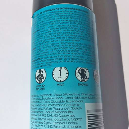 Verpackungsrückseite - St.Tropez Gradual Tan 1 Minute Everyday Pre-Shower Tanning Mousse
